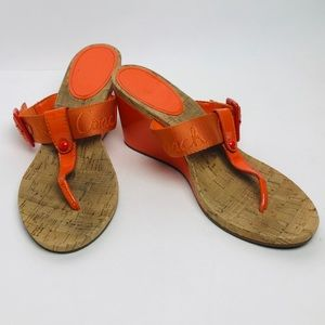 Coach Bernadette sandals orange sz 9B thong wedge